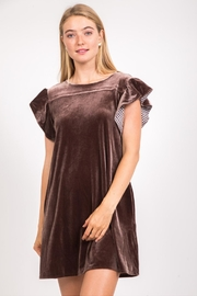 Very J Velvet Ruffle-Sleeve Dress - Product Mini Image