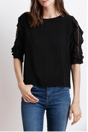 Velvet Ruffle Sleeve Top - Front cropped
