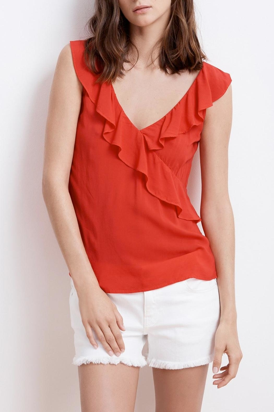 Velvet April Ruffle Top - Front Cropped Image