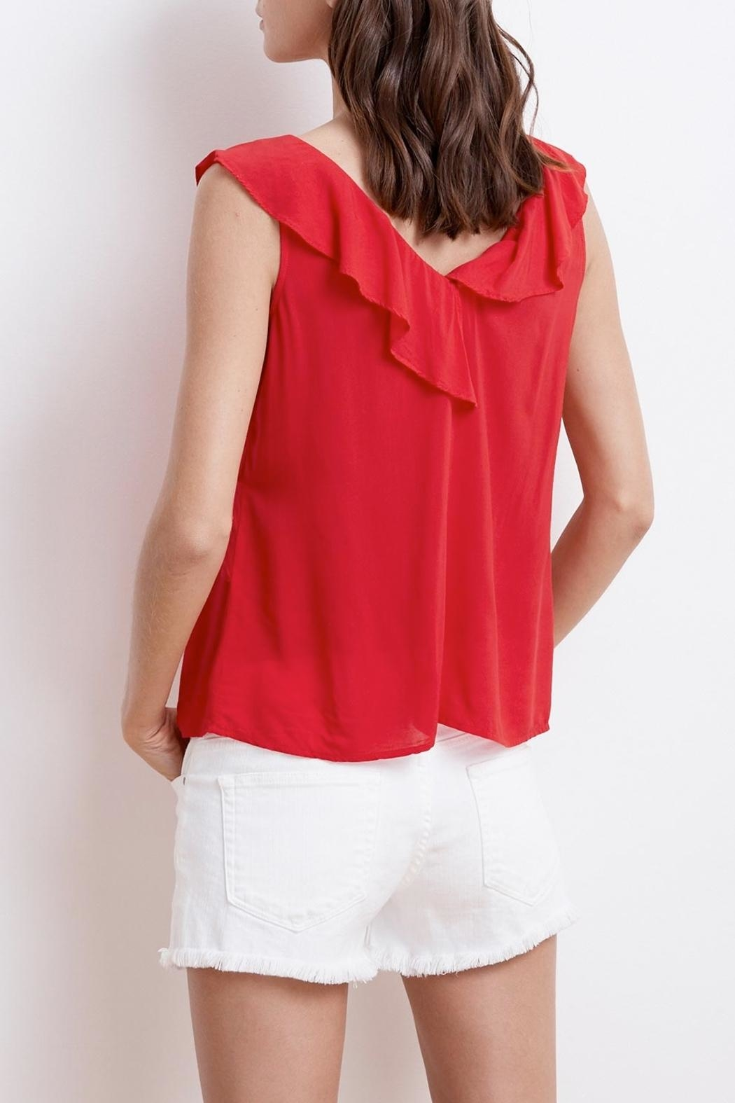 Velvet April Ruffle Top - Side Cropped Image