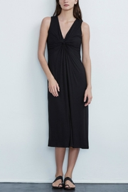 Velvet V-Neck Midi Dress - Product Mini Image