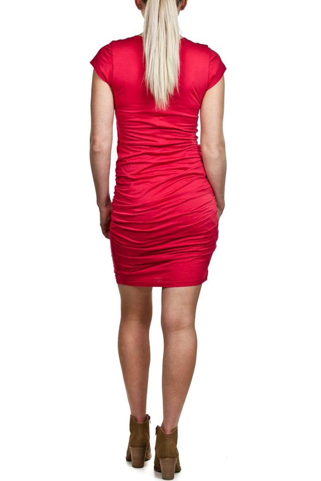 Velvet Red Mini Dress - Side Cropped Image