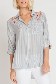 Velvet Heart Embroidered Pinstripe Top - Product Mini Image