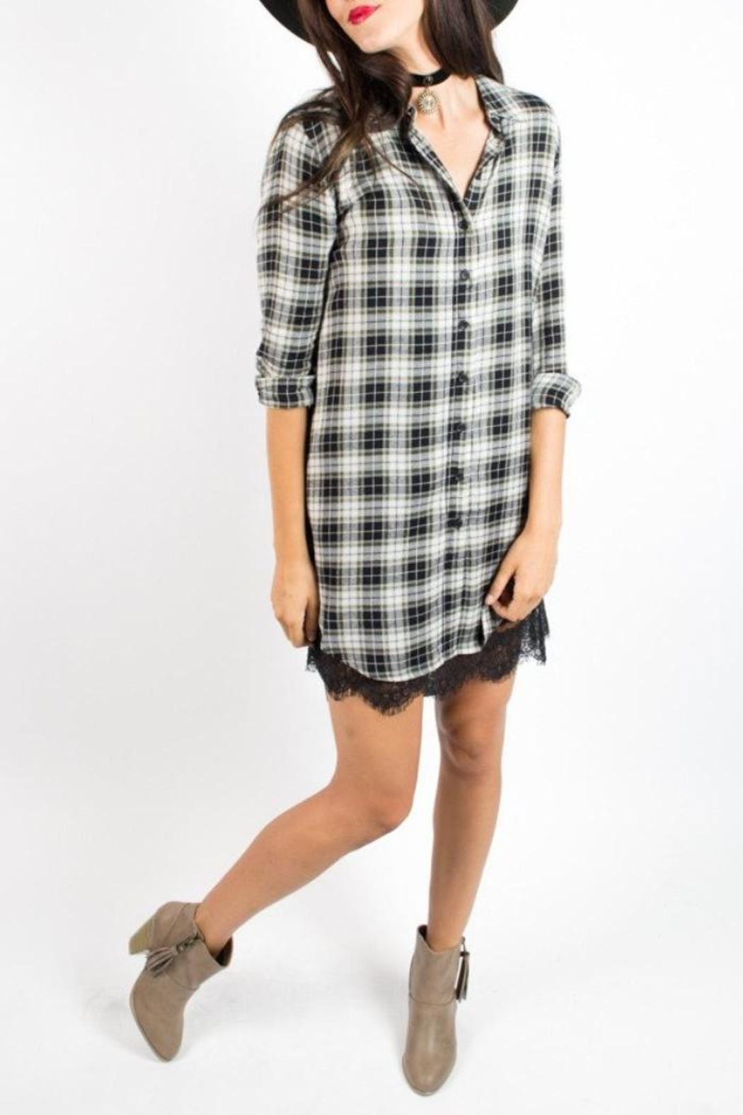 Velvet Heart Plaid Dress - Main Image
