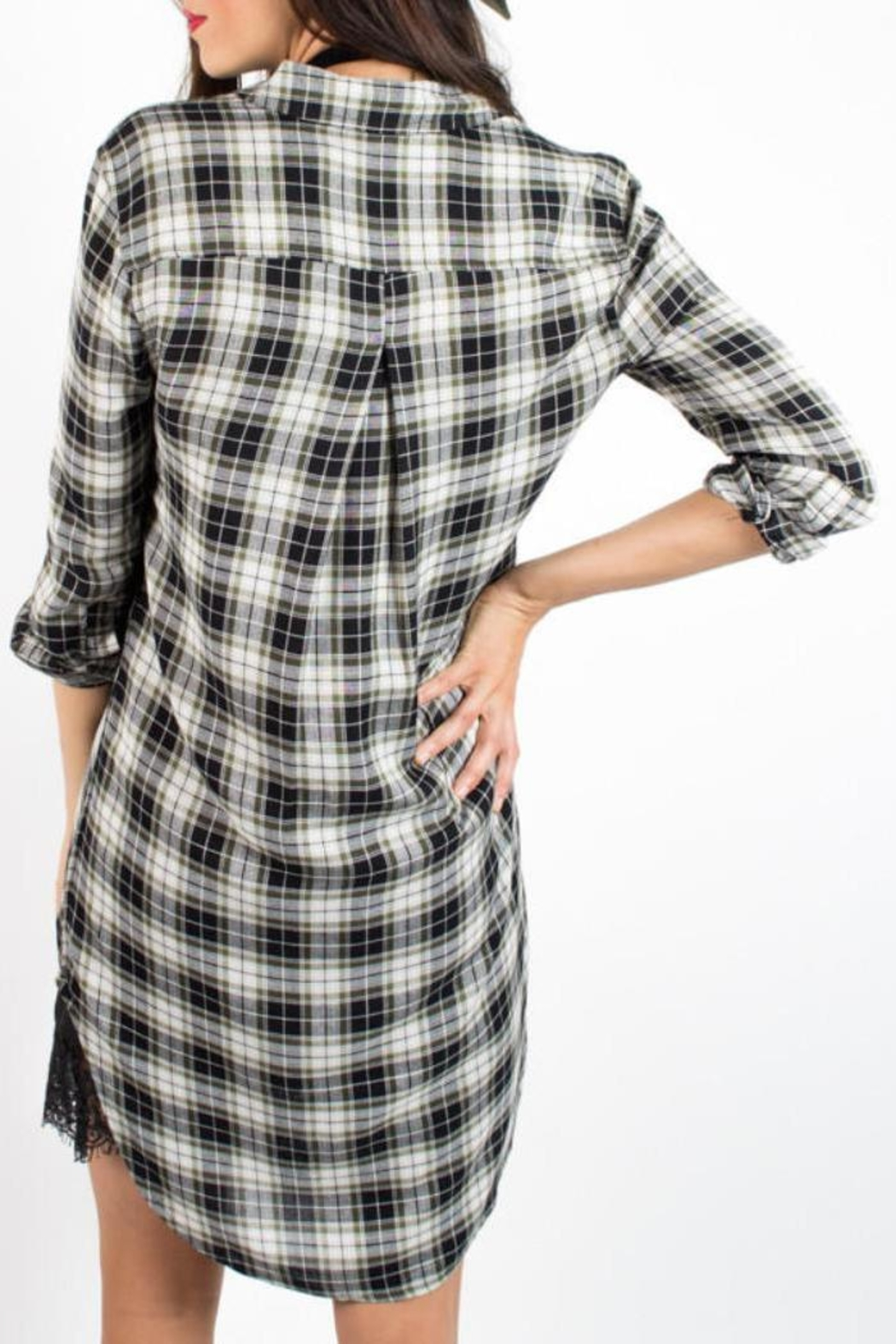 Velvet Heart Plaid Dress - Side Cropped Image