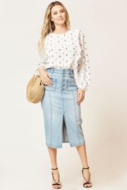 Velvet Heart Slim Denim Skirt - Product Mini Image