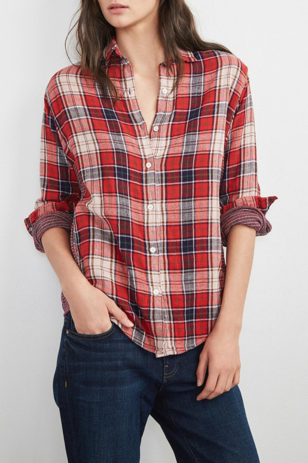 Velvet double face plaid shirt from seattle by jack jerome for Red velvet button up shirt