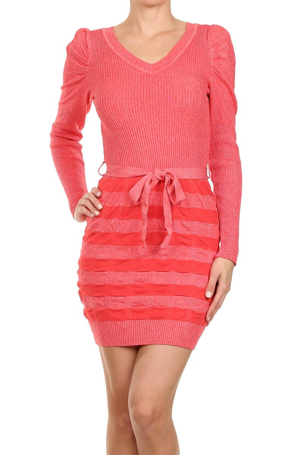 Velzera Bodycon Sweater Dress - Front Cropped Image