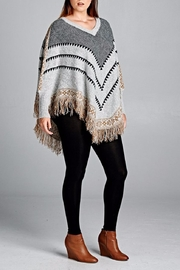Velzera Chevron Fringe Accent Poncho - Front full body