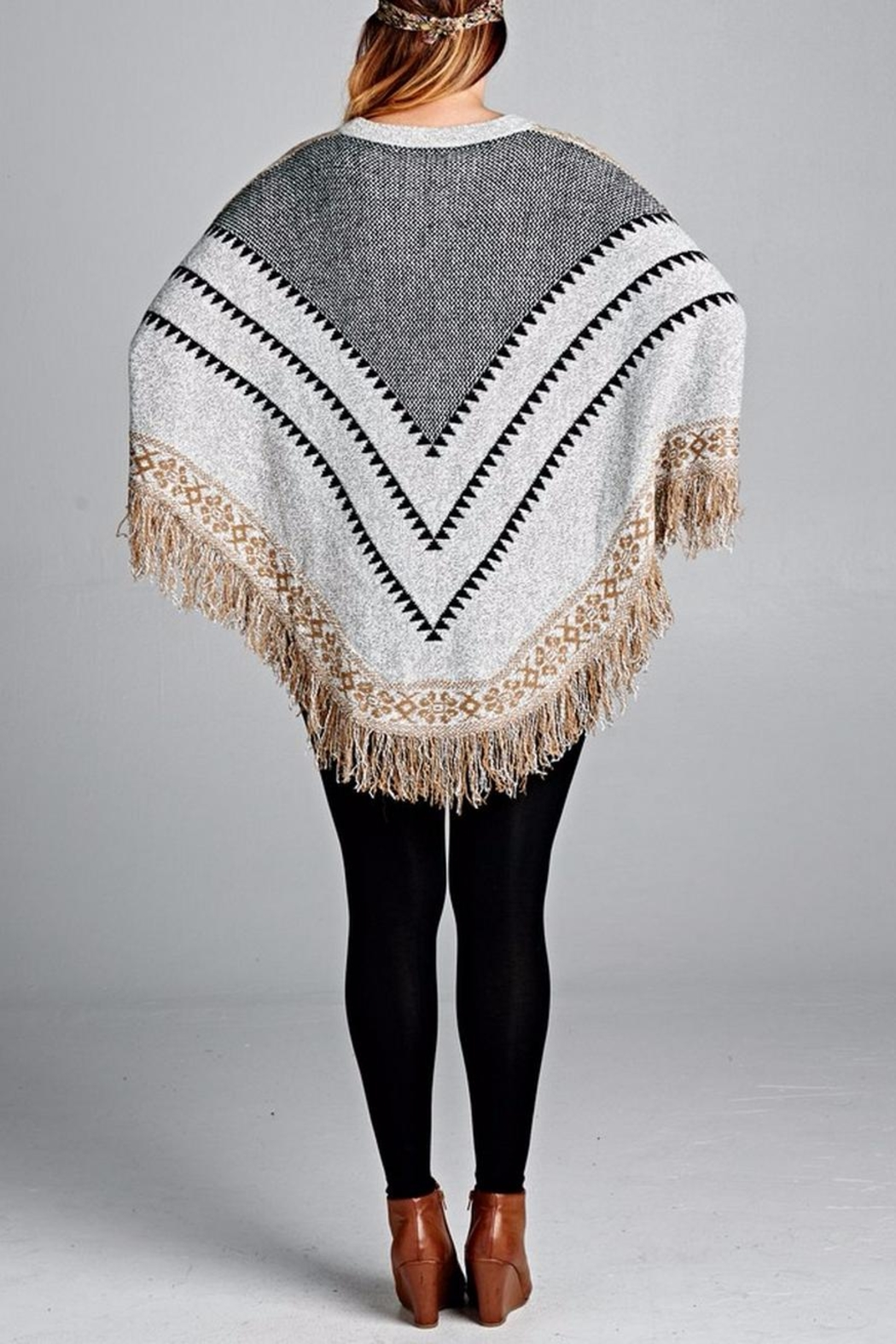 Velzera Chevron Fringe Accent Poncho - Side Cropped Image