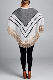 Velzera Chevron Fringe Accent Poncho - Side cropped