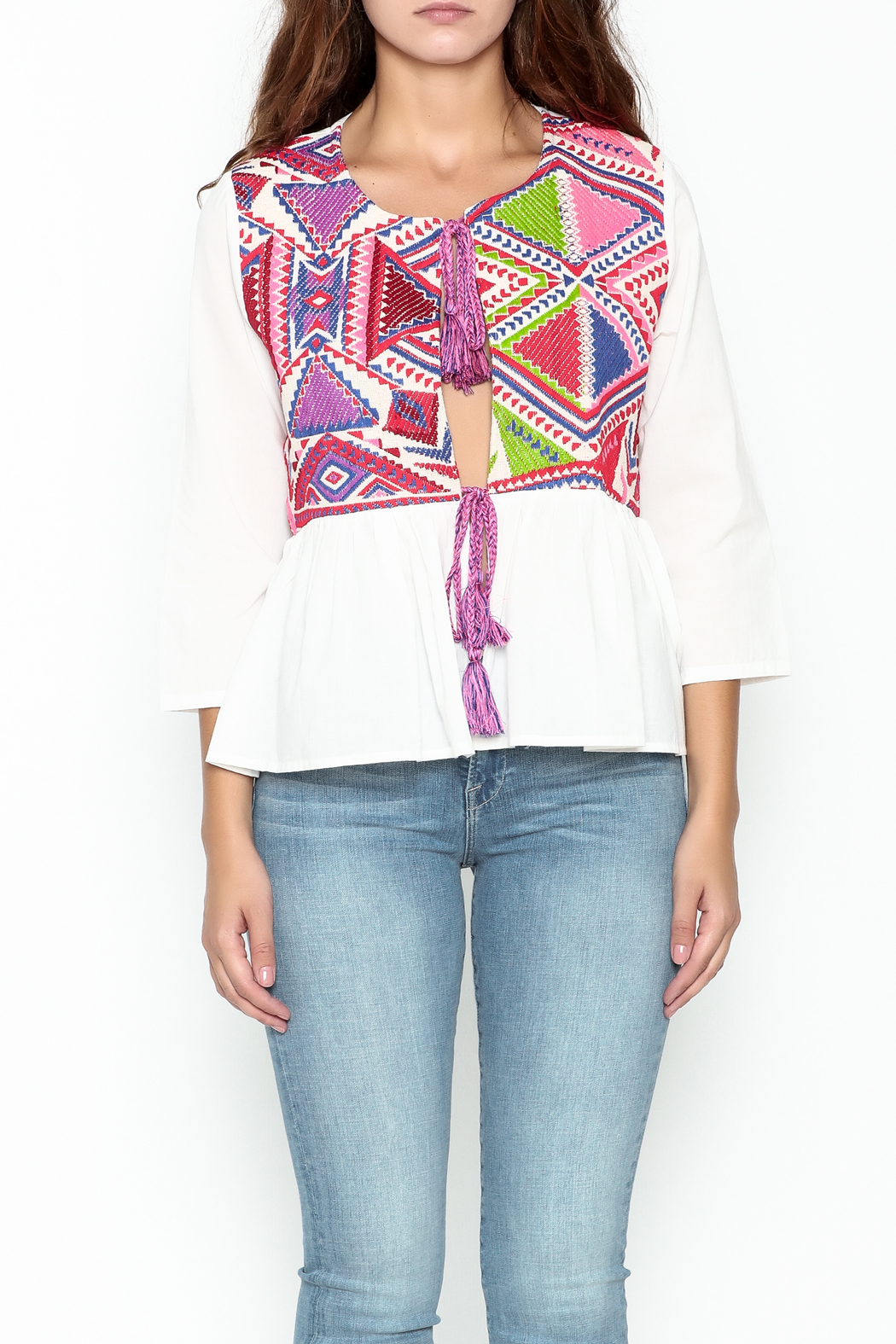 Velzera Colorful Embroidered Top - Front Full Image