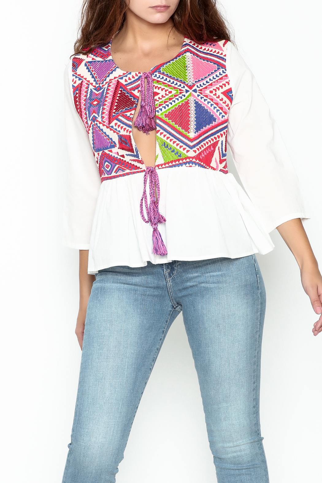 Velzera Colorful Embroidered Top - Main Image