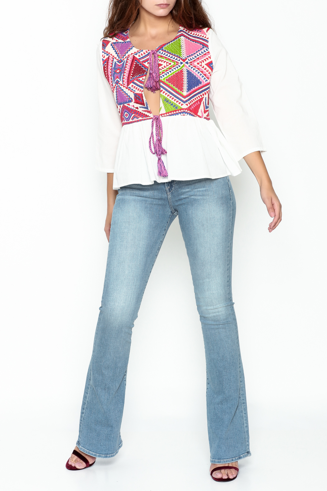 Velzera Colorful Embroidered Top - Side Cropped Image