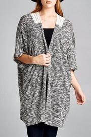 Velzera Crotchet-Accent Open Cardigan - Front cropped