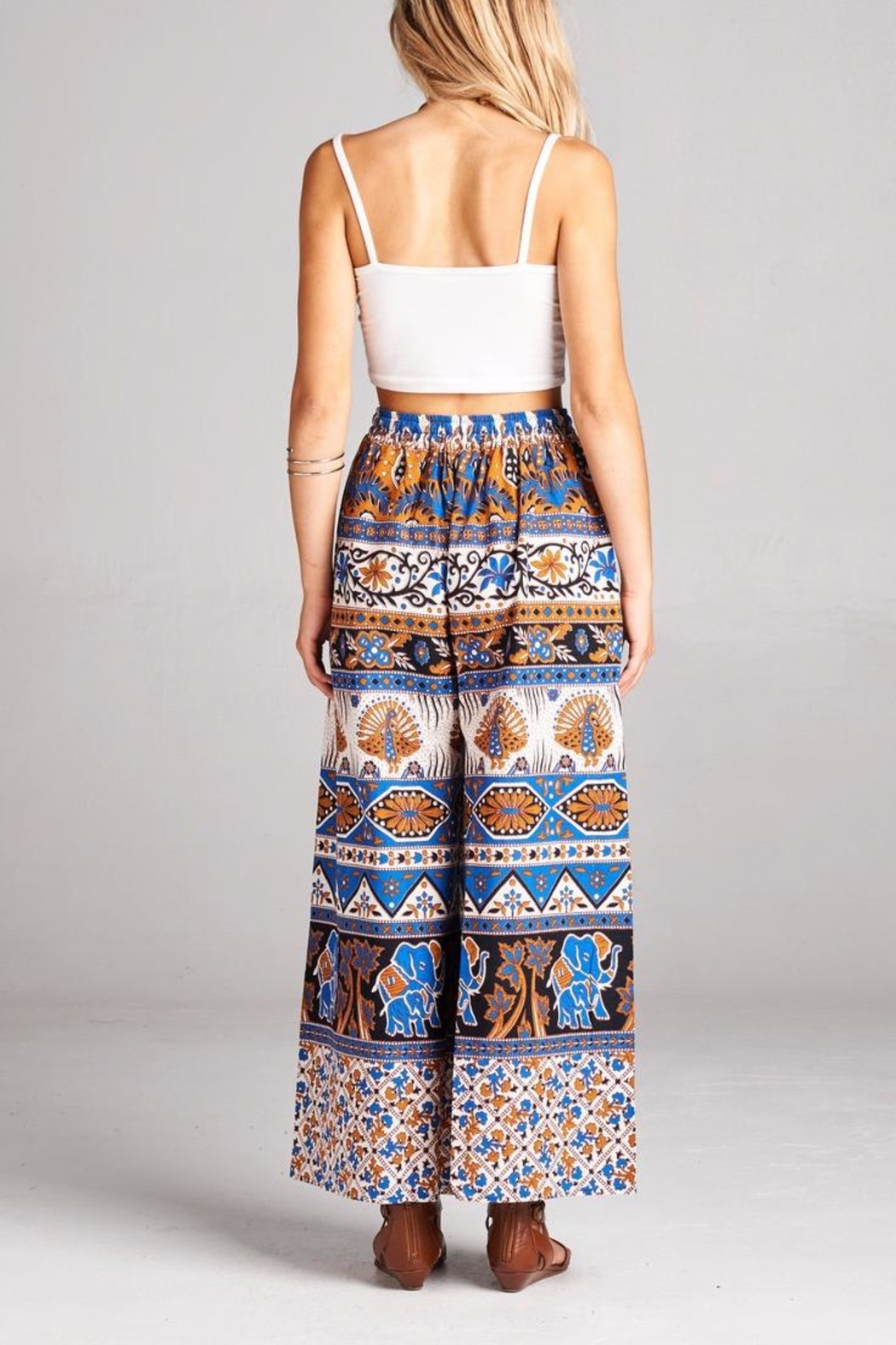 Velzera Elephant Printed Palazzo Pants - Side Cropped Image