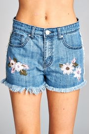 Velzera Embroidered Denim Shorts - Product Mini Image