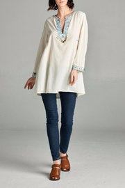 Velzera Embroidered Notch Neck Tunic - Product Mini Image