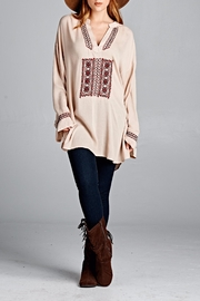 Velzera Embroidered Neck Tunic Top - Product Mini Image