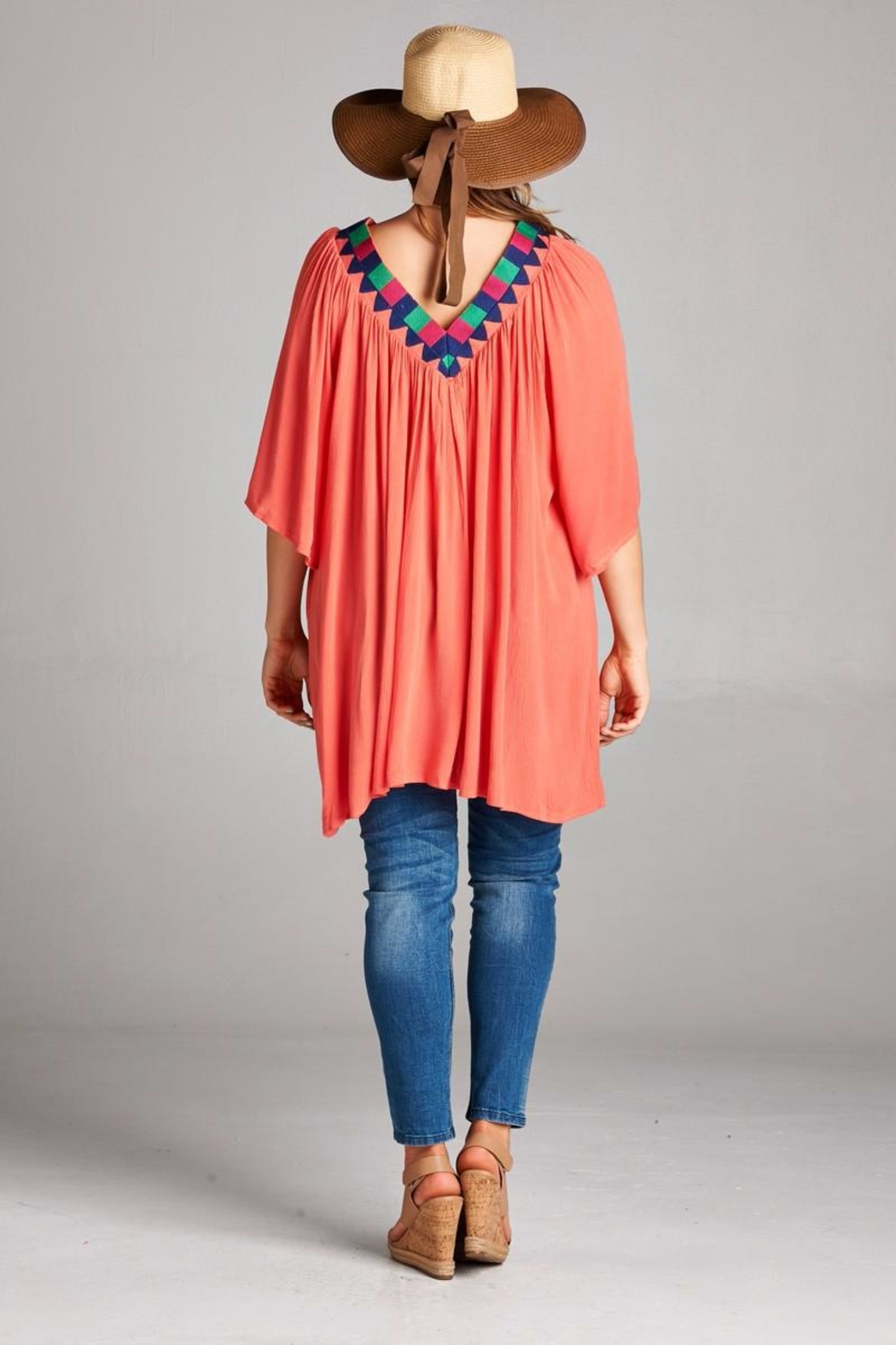 Velzera Embroidered V Neck Tunic - Side Cropped Image