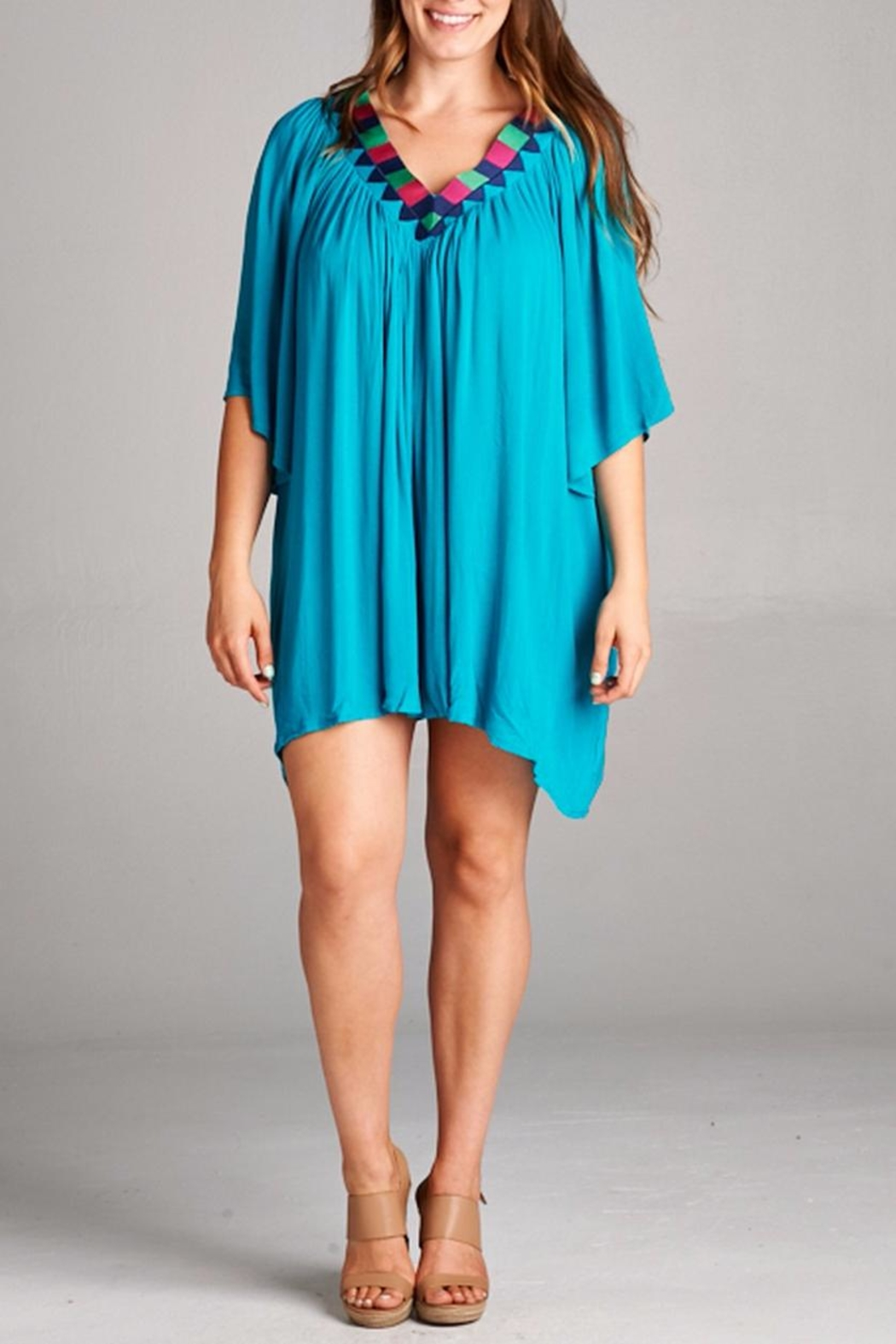 Velzera Embroidered V Neck Tunic - Front Cropped Image