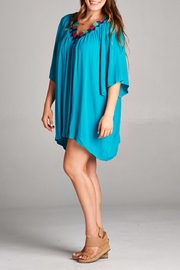 Velzera Embroidered V Neck Tunic - Front full body