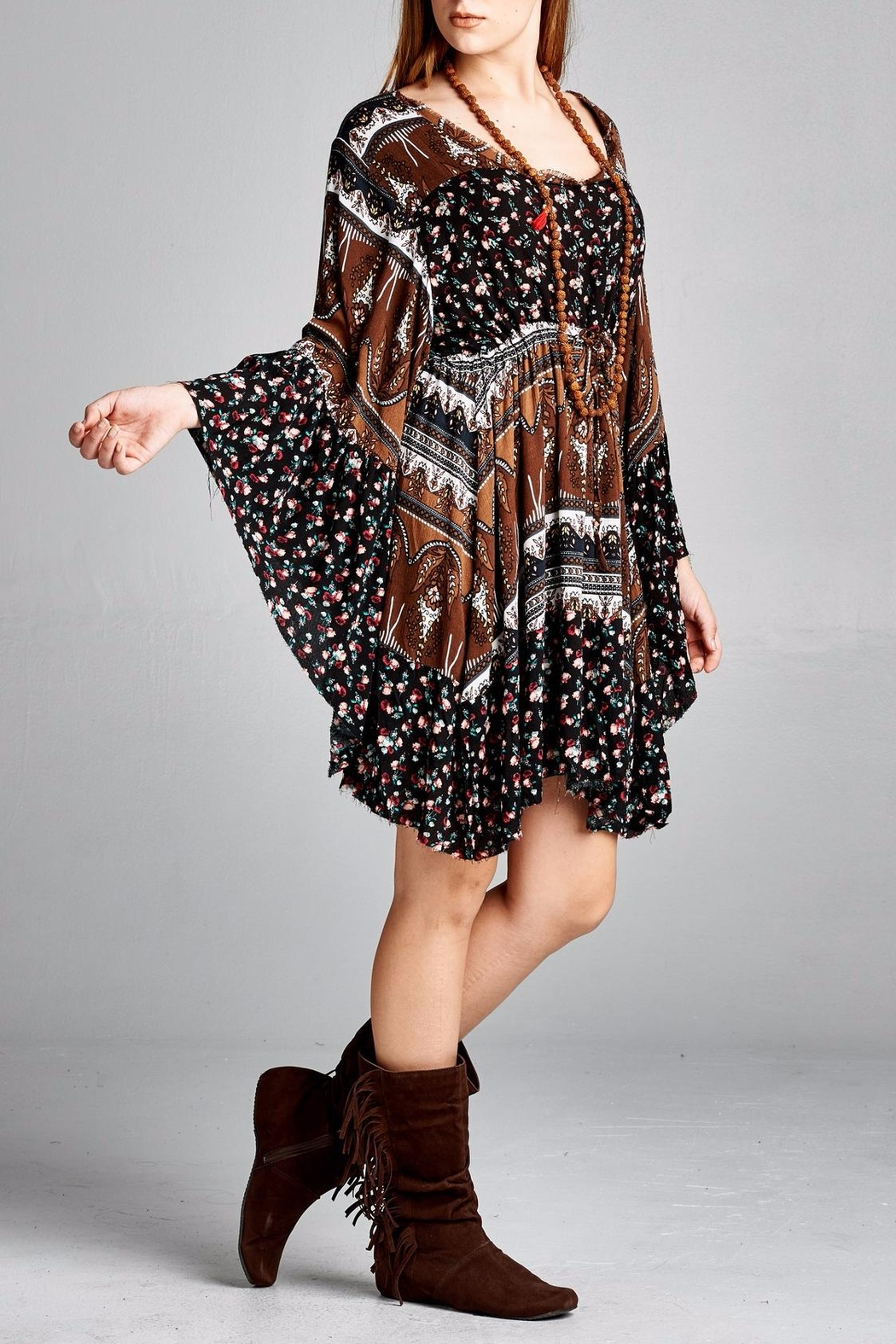Velzera Floral Bell-Sleeve Dress - Front Full Image