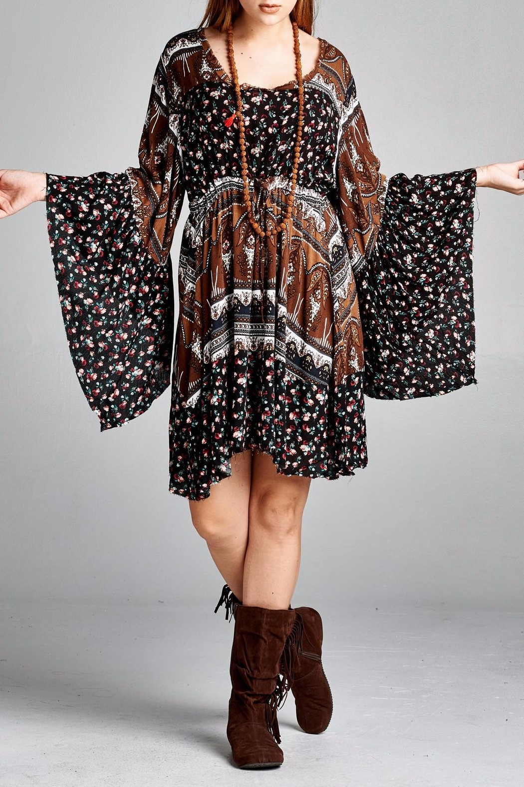 Velzera Floral Bell-Sleeve Dress - Front Cropped Image