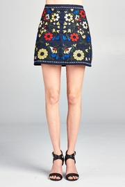 Velzera Floral Embroidered Mini-Skirt - Front cropped