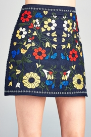 Velzera Floral Embroidered Mini-Skirt - Side cropped