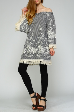 Shoptiques Product: Floral-Embroidered Off-Shoulder Dress