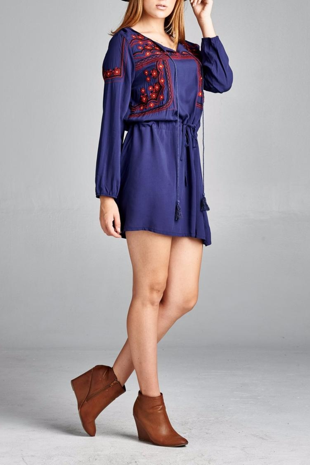 Velzera Front Embroidered Tunic Dress - Front Full Image