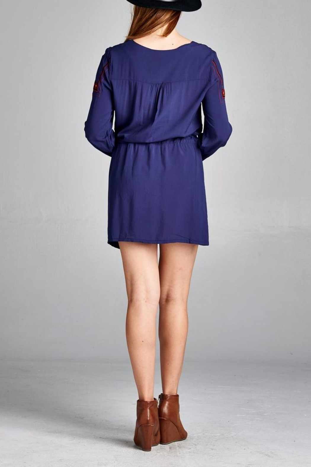 Velzera Front Embroidered Tunic Dress - Side Cropped Image