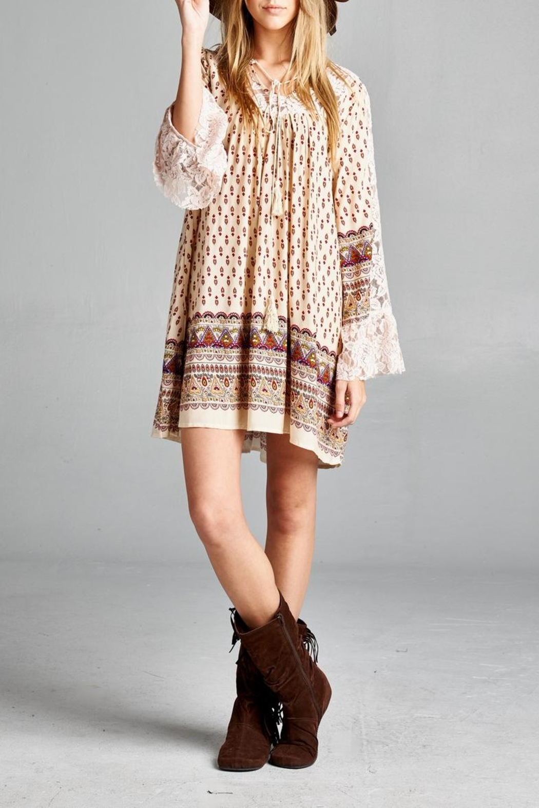 Velzera Lace-Accent Tunic Dress - Main Image