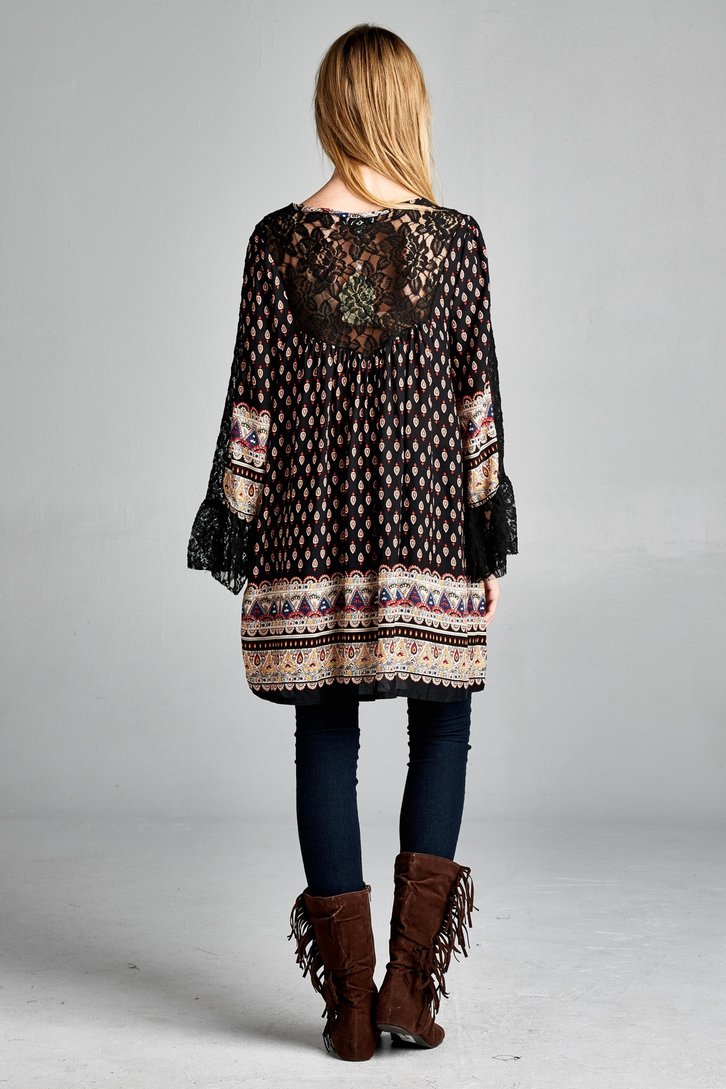 Velzera Lace-Accent Tunic Dress - Front Full Image