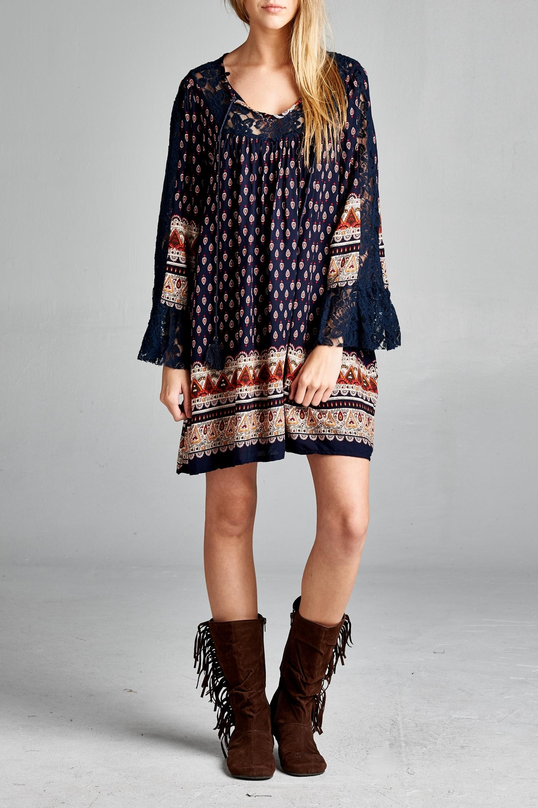 Velzera Lace-Accent Tunic Dress - Front Cropped Image