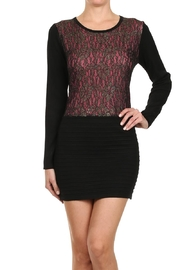 Velzera Lace Bodycon Sweater Dress - Front cropped