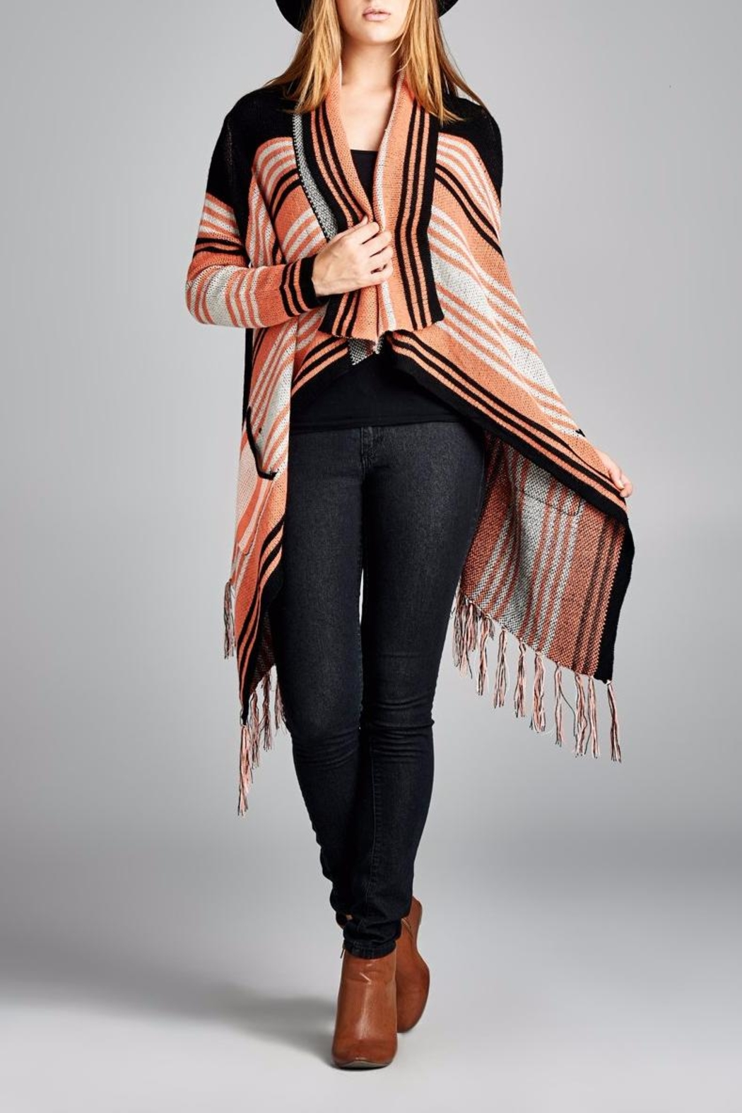 Velzera Multi Striped Open Cardigan - Main Image