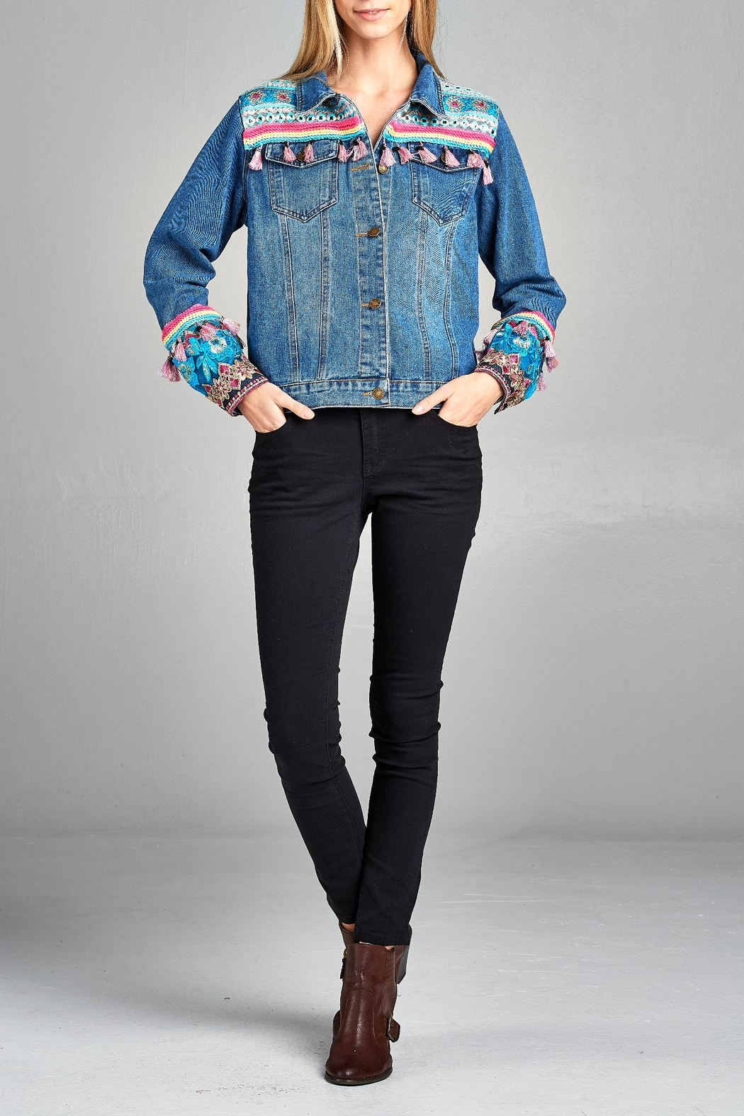 Velzera Multi-Tassel Embroidered Jean-Jacket - Front Cropped Image