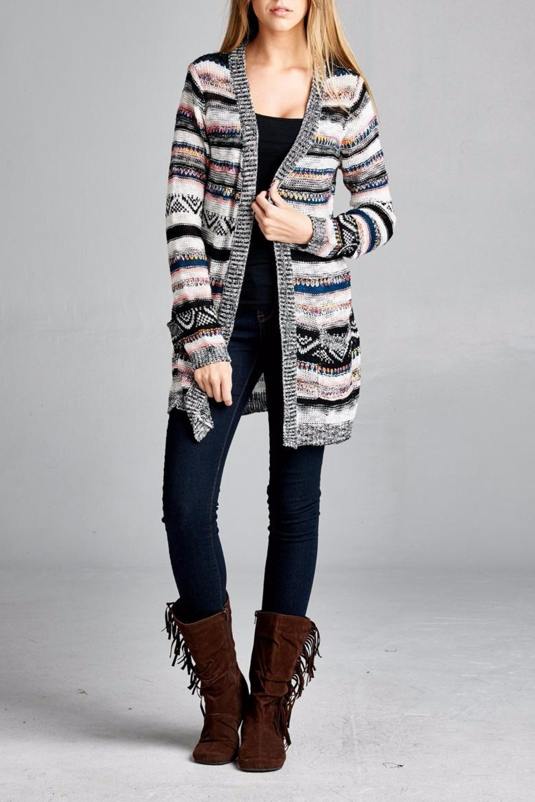 Velzera Multicolor Open Cardigan - Front Cropped Image