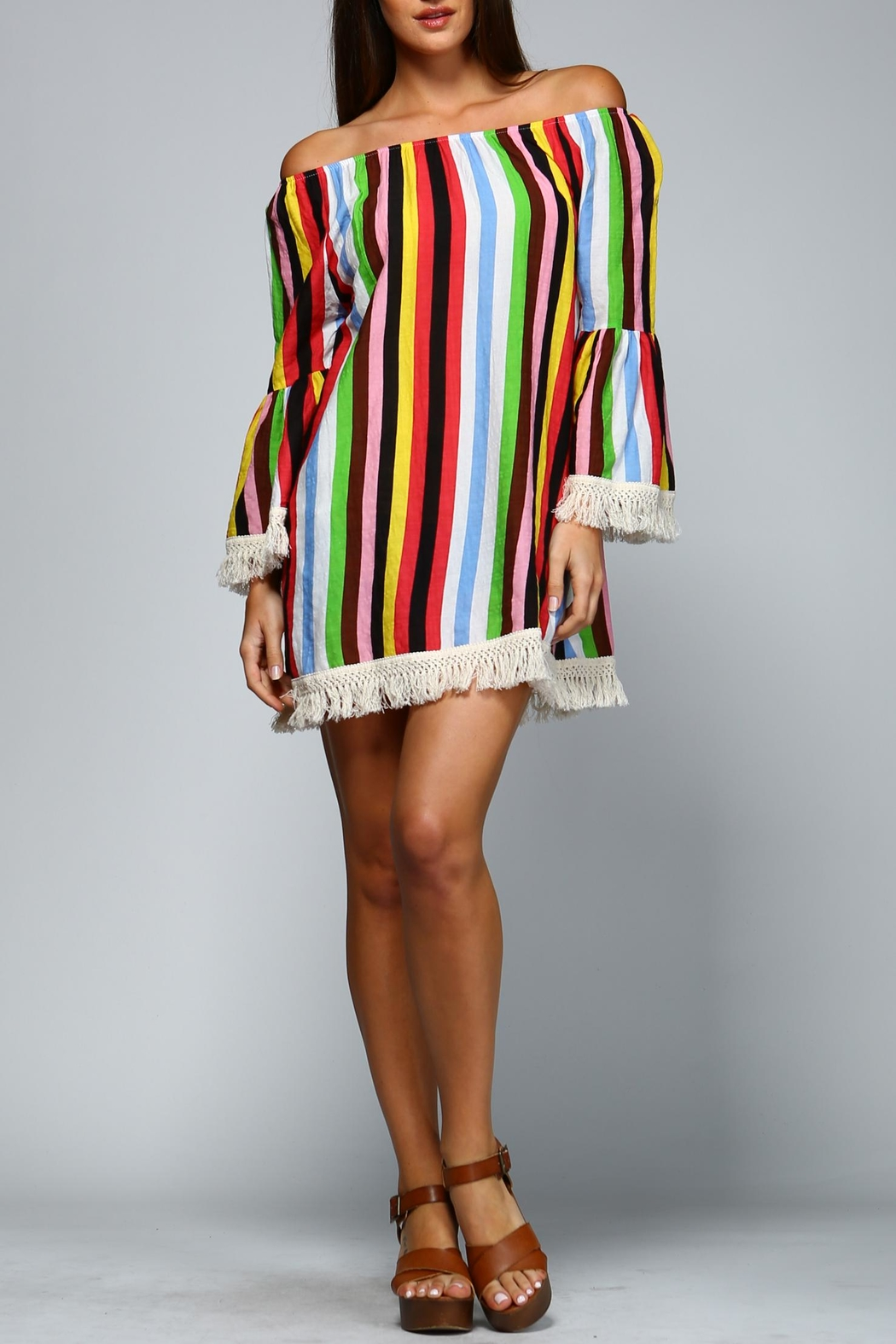 Velzera Multicolored Striped Dress - Front Cropped Image