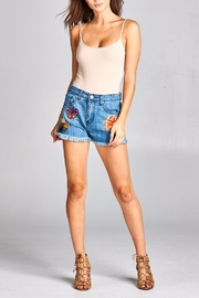 Velzera Patch Accent Denim Shorts - Front cropped