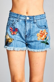 Velzera Patch Accent Denim Shorts - Product Mini Image