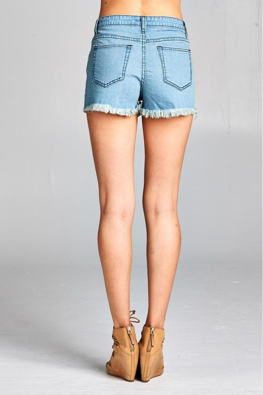 Velzera Patch-Accent Denim Shorts - Back Cropped Image
