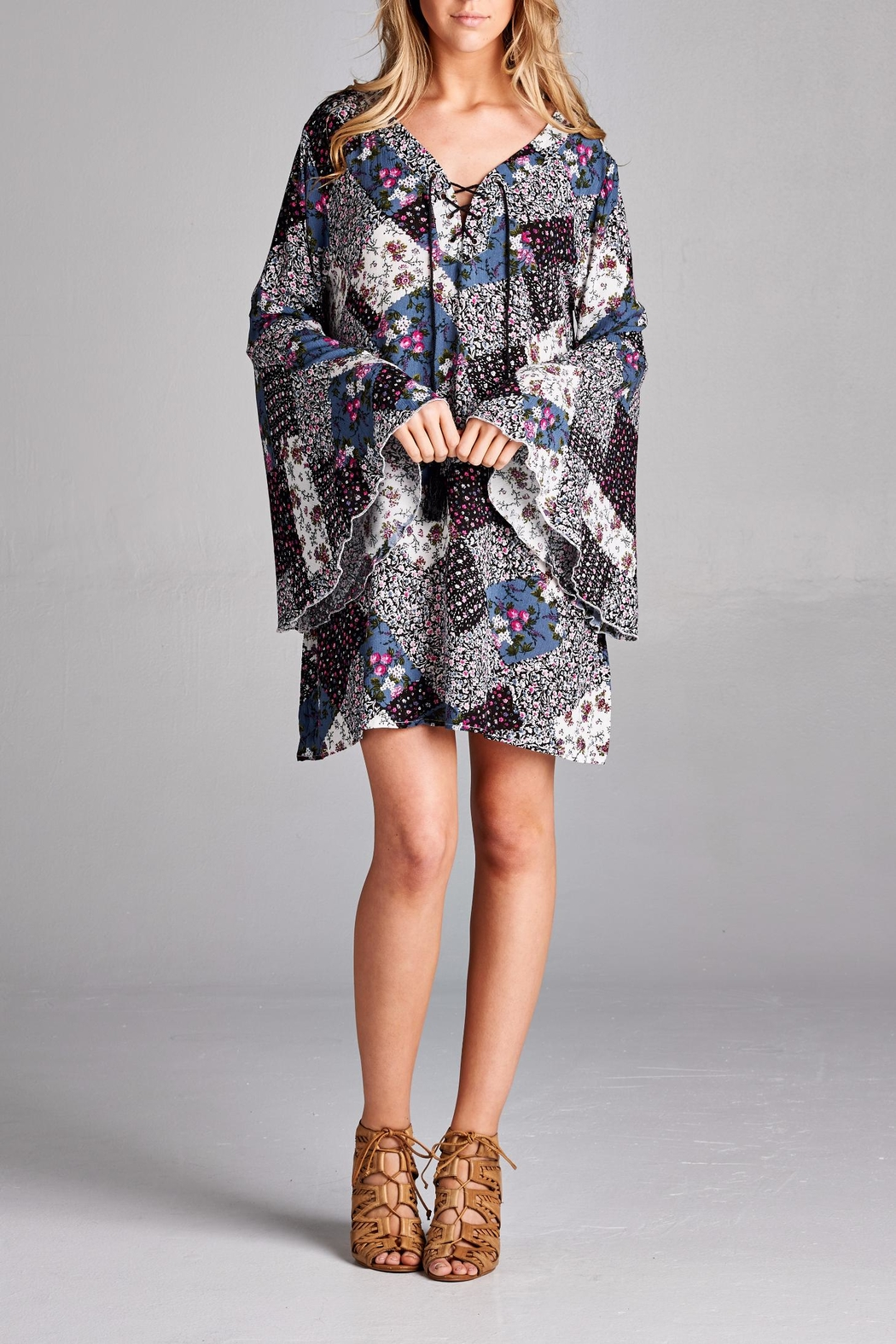 Velzera Patchwork Bell Sleeve Dress - Front Cropped Image