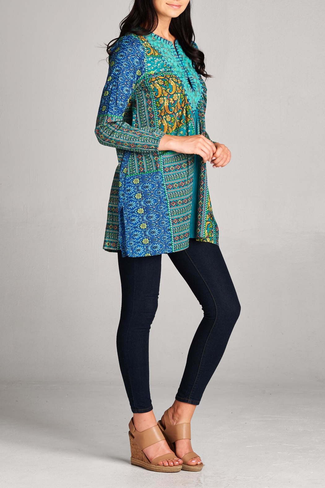 Velzera Patchwork Tunic Top - Front Full Image