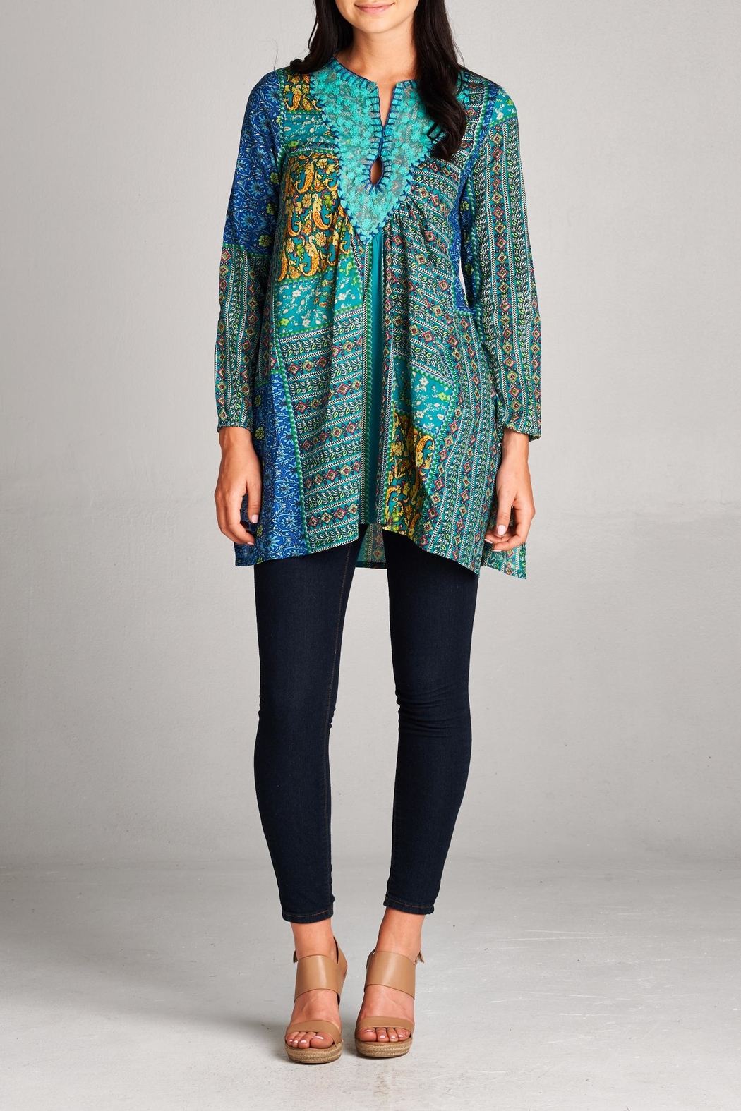 Velzera Patchwork Tunic Top - Main Image