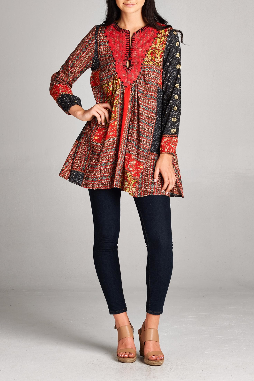 Velzera Patchwork Tunic Top - Front Cropped Image