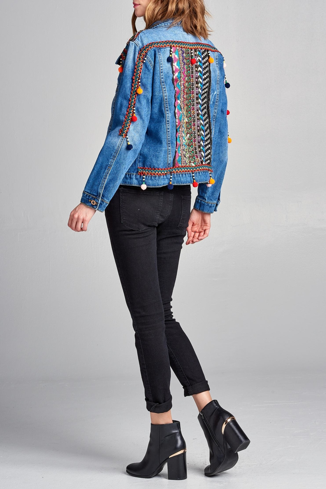 Velzera Pom-Pom Embroidered Jean-Jacket - Front Cropped Image
