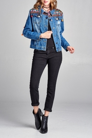 Velzera Pom-Pom Embroidered Jean-Jacket - Front full body
